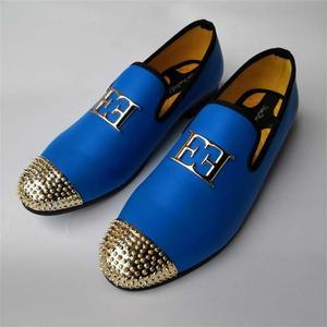 Image 5 - หนังผู้ชายขนาดใหญ่แฟชั่นผู้ชายออกแบบรองเท้าBrightหัวเข็มขัดและโลหะทองToe Menรองเท้าPartรองเท้า