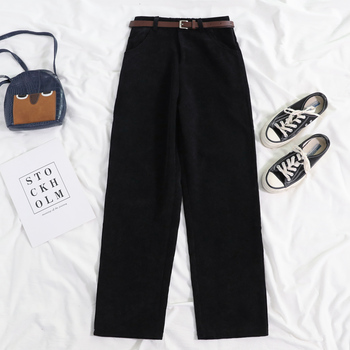 Lucyever New 2020 Women Spring Corduroy Pants High Waist Vintage Korean Wide Leg Pants Elegant Belt Loose Cotton Streetwear