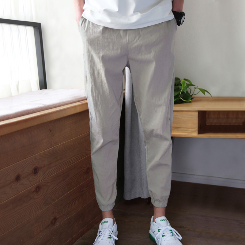 Men Pants Overalls Thin Men's Summer Casual Section Nine Small-Feet Points Solid-Color
