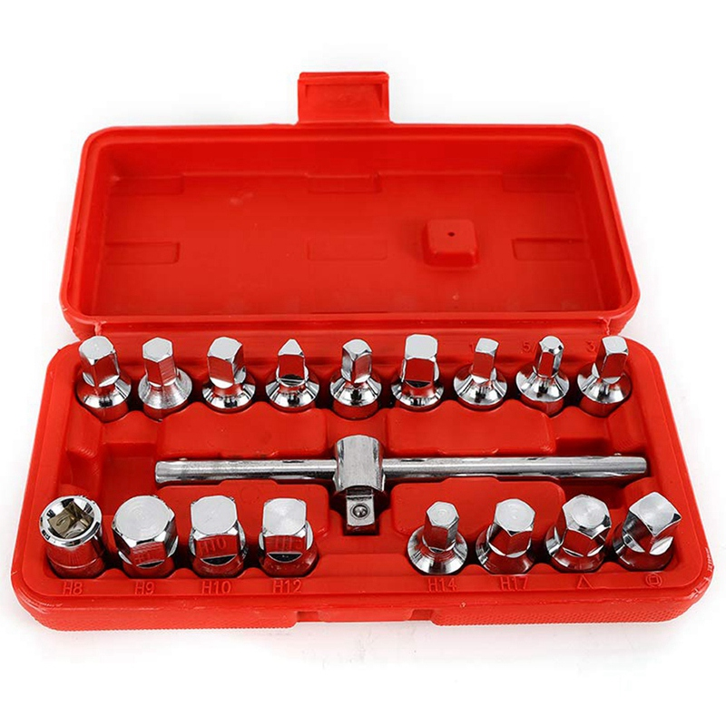 18Pc Oil Drain Pipe Plug Socket Key Gearboxes Hexagon Square Axles 3/8 Drive Removal Tool Set