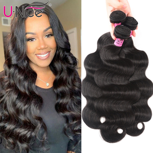 Image 1 - UNice Hair Company Indian Hair Body Wave Human Hair Bundles 1 Piece Remy Hair Extensions Weave 8 30inch Can Mix Any Length
