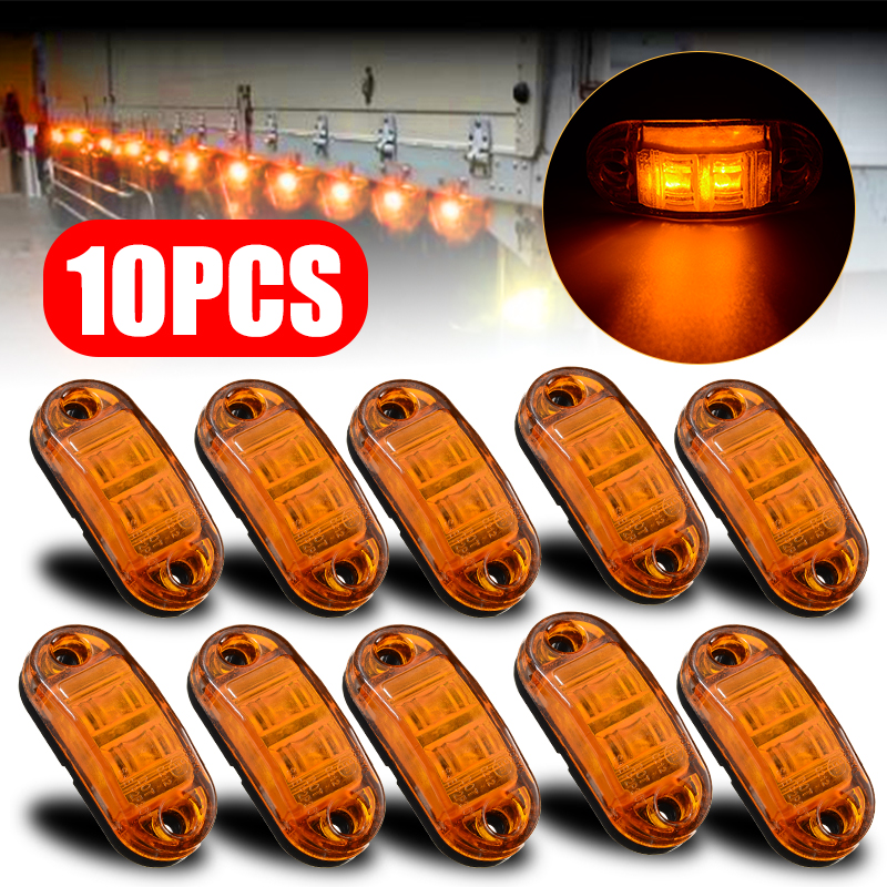 10Pcs 10V-30V LED Car Side Marker Tail Light Amber 10V-30V Trailer Truck Lamp Car Bus Truck External Lights New