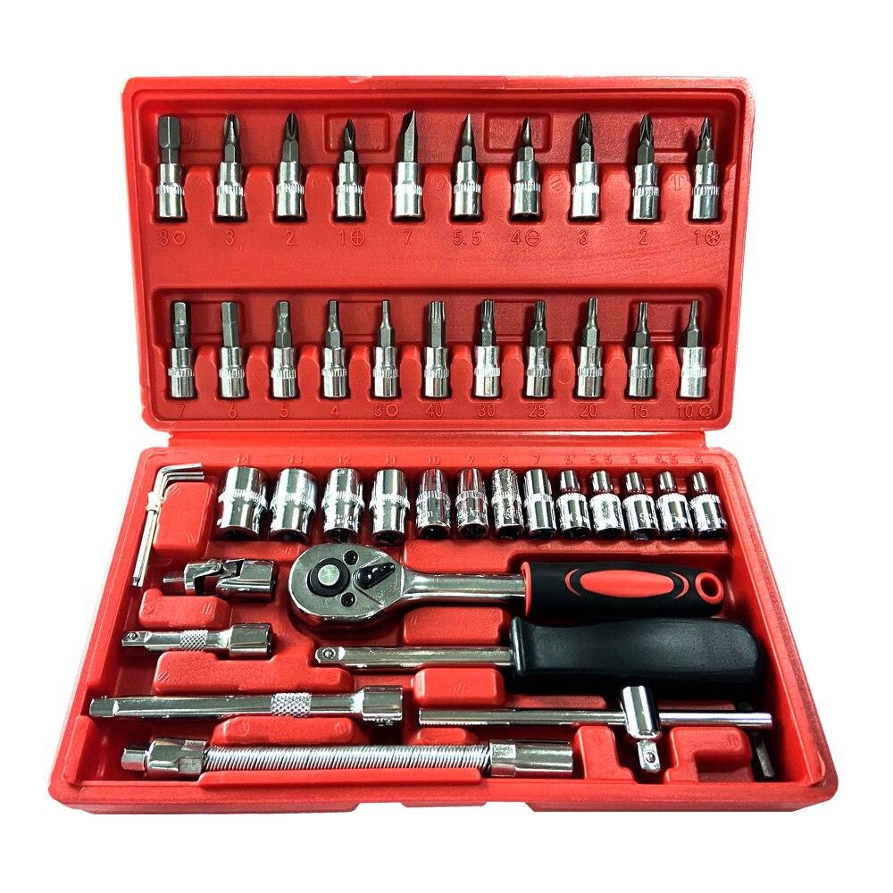 Ferramenta de mão chave de soquete reparo do carro chave de catraca conjunto de chave de manutenção automóvel pneu remoção manga conjunto chave chave ferramenta universal