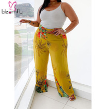 Long-Pants Plus-Size for Beach Trousers Leg Flower Palazzo Vacation Printed Holiday Wide