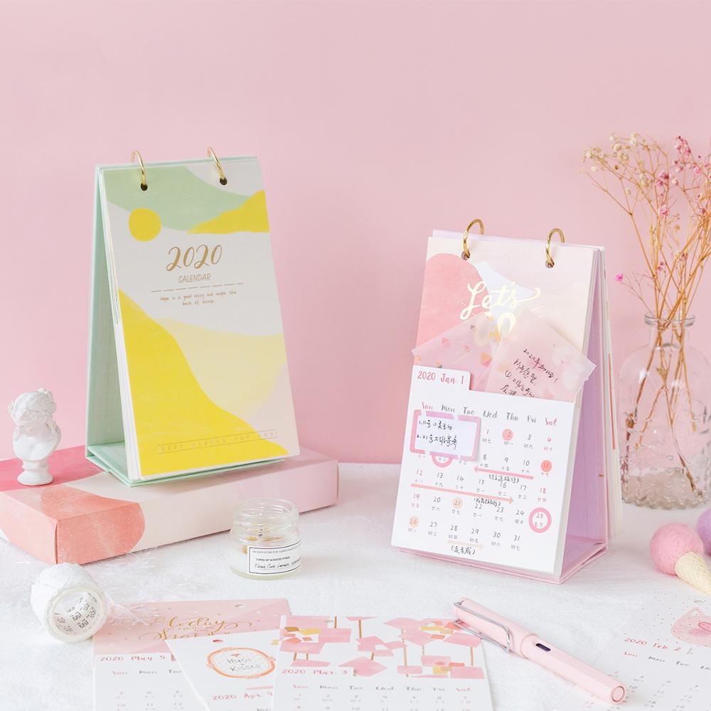 2020 NEW Kawaii Cute Pocket Calendar With Box Coil Schedule Memo Pad Creative Desk Table Dates Reminder Timetable Planner Sl2152