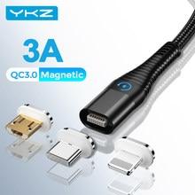 Câble magnétique LED USB Micro et type-c pour recharge, cordon de chargeur aimanté pour iPhone 12/11/pro/max, 1M/2M
