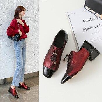 INS hot women pumps Natural leather 22-25cm ladies shoes Internet celebrity Sheepskin + cow patent leather shoes woman