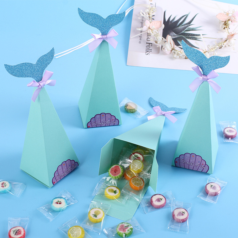 20sets Craft Paper Box Cute Mermaid Shape for Gift Candy Packaging traktatie kinderen verjaardag Theme Party Supplies iCraft Gift Bags & Wrapping Supplies Home & Garden - title=
