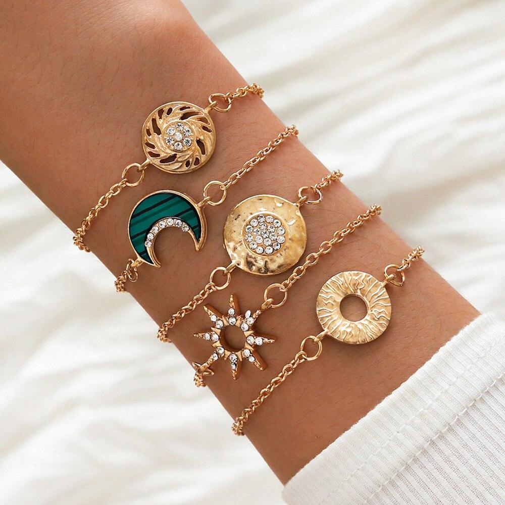 DIEZI 5PCS/set Gold Color Chain Bracelets Cuff Bangle Women Round Triangle Wave Charm Bracelet Sets Couples Vintage Boho Jewelry