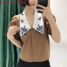 VERDEJULIAY bawełna wysokiej jakości koszula szwy biały kwiatowy haftowany kołnierz elegancka z bufkami rękawem 2020 wiosna kobiety bluzka tanie tanio COTTON REGULAR Suknem Skręcić w dół kołnierz Floral Krótki LRL190321501231 Puff rękawem vintage Floral embroidery collar