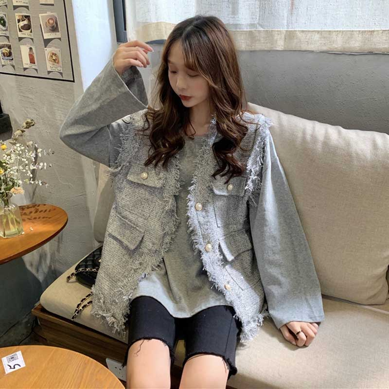 Korean Retro Small Fragrance Wind Woolen Pockets Sleeveless Vest Summer Women's Clothes Single Breasted Loose Stitching Jacket