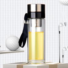 High borosilicate double glass cup thick bottom portable high temperature seal leakproof