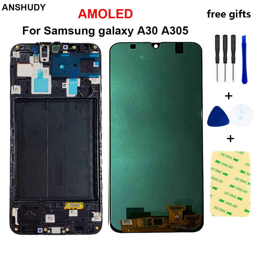AMOLED For <font><b>Samsung</b></font> galaxy <font><b>A30</b></font> A305/DS A305F A305FD A305A <font><b>LCD</b></font> Touch Screen Digitizer Assembly For <font><b>Samsung</b></font> <font><b>A30</b></font> <font><b>lcd</b></font> Display Frame image