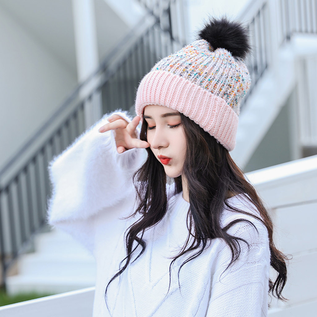 SAGACE Unisex Winter Thicken Hat Plush Warm Hat Puffer Ball For Women Lady Ear Warm Hat  Efficient And Breathable Thick And Warm