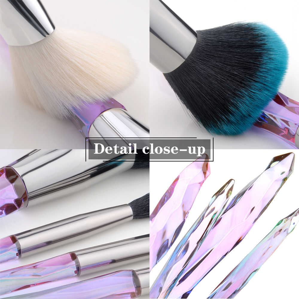 FLD 5Pcs קריסטל סגנון איפור מברשות סט אבקת קרן עין סומק מברשת קוסמטי מקצועי איפור מברשת ערכת כלים