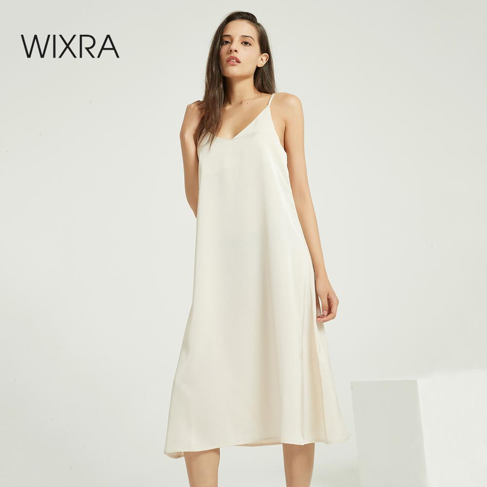 Wixra Sexy Strap Backless Satin Dress Loose Dresses Spring Summer New Sleeveless Basic Solid Womens Clothing