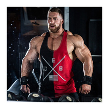 New Products Gym Men's Sleeveless Sportswear Fitness Vest Cotton Stitching Contrasting Muscle Undershirt Men's Bodybuilding Vest