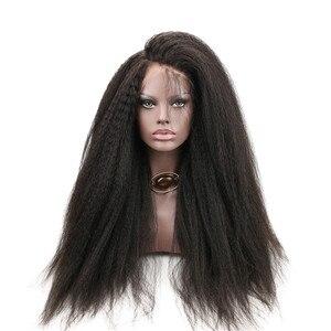 Image 1 - Eseewigs 300 Density Italian Yaki Straight Fake Scalp PU silk base Lace Frontal Wigs Black Women Remy Human Hair wig With Baby