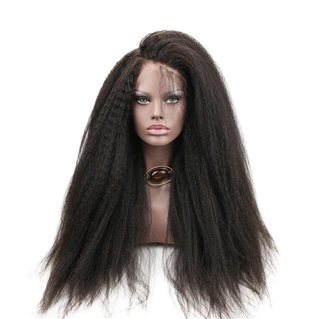 Eseewigs 300 Density Italian Yaki Straight Fake Scalp PU silk base Lace Frontal Wigs Black Women Remy Human Hair wig With Baby
