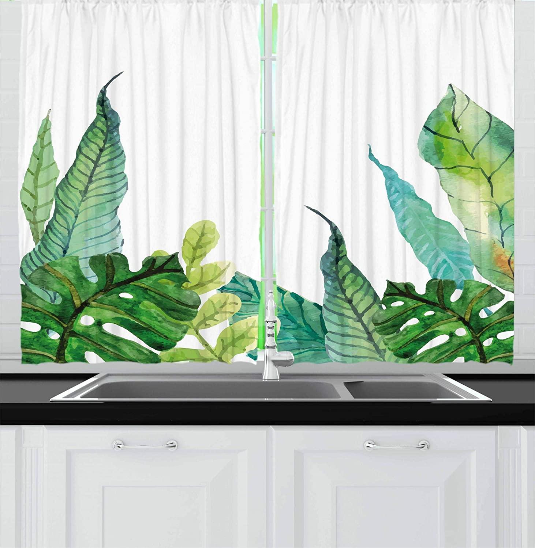 Cortinas de hojas para ventana de cocina, con estampado a mano de acuarela de estilo Panda, plátano, Fragipani, árboles tropicales, hojas exóticas, ventana Guirnalda para exterior de luces LED navideñas de 4,6 M, guirnalda para luces de hadas, cortina de carámbano para Calle de 0,4 a 0,6 m, decoración para el hogar y Jardín de 110 a 220V