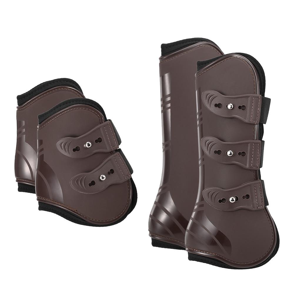 4 PCS Front Hind Leg Boots Horse Leg Boots Equine Front Hind Leg Guard Equestrian Tendon Protection Horse Hock Brace Equipment