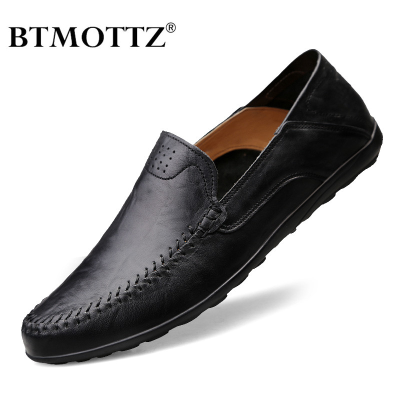 Genuine Leather Men Shoes Luxury Brand Casual Slip On Formal Loafers Men Moccasins 2020 Italian Black Brown Male Driving Shoes