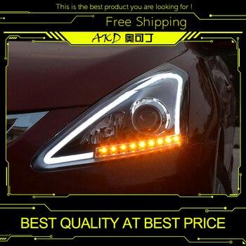 AKD Car Styling for Nissan Tiida Headlights 2012-2015 New Tiida LED Headlight Signal LED DRL Bi Xenon Lens High Low Beam Parking