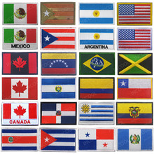 Америка Флаги стран Мексика пуерто-Рико Аргентина Соединенные Штаты, Канада Бразилия El Salvador вышитые нашивки значки оптом
