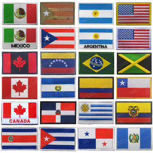 America Country Flags Mexico Puerto Rico Argentina United States Canada Brazil El Salvador Embroidered Patches Badges Wholesale(China)