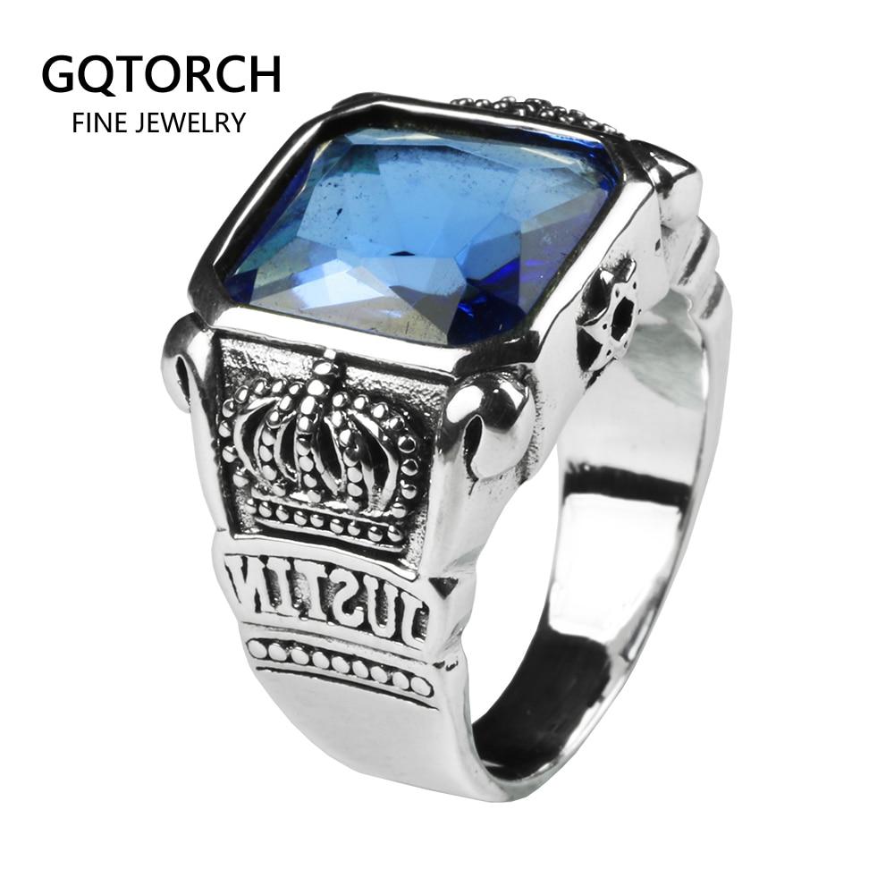 Bague en cristal bleu pour hommes carré pierre naturelle véritable argent Sterling 925 avec couronne de roi Vintage sculpté de beaux bijoux