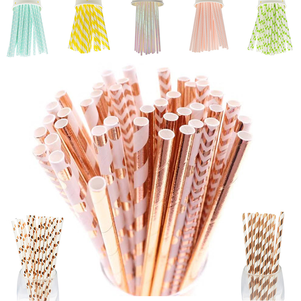 25pcs Paper Drinking Straws Disposable Tableware Decorations Party Supplies Birthday Wedding  And Celebrations Girl's Party NEW