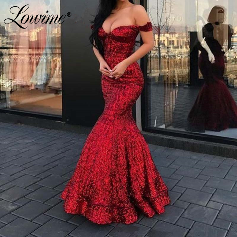 African Mermaid Prom Dresses Long Evening Dress 2020 Robe De Soiree Off The Shoulder Custom Sequins Party Gowns Abendkleider