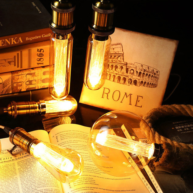 Vintage Edison Light Bulb Hemp Rope Pendant Light Holder E27 220V 1M 1.5M 2M Loft Creative Personality Industrial Pendant Lamp