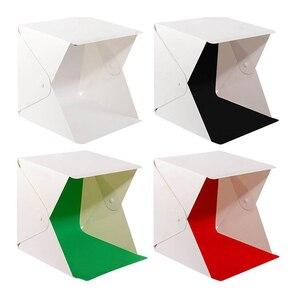 Image 5 - Baolyda Photobox iluminación 40*40 2LED Mini Lightbox Photo Studio Kit para fotografía caja de luz con 4 colores telón de fondo