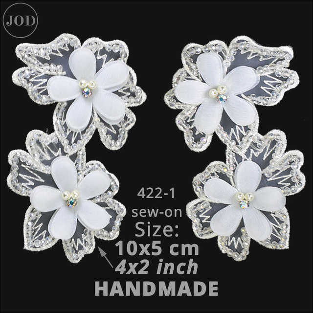 Sew On Motifs or Iron On Dresses Appliques Patches 5.1 cm Pink Patchwork Flower