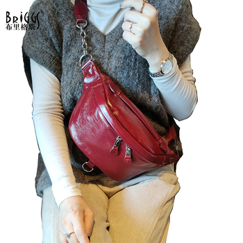 BRIGGS Women Chest Bag Genuine Leather Fanny Belt Bags High Quality Shoulder Messenger Bag Fashion Chest Crossbody Bags For wom