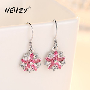 NEHZY 925 sterling silver earrings high quality jewelry woman fashion new pink crystal Zircon long retro vintage earrings