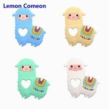 New Silicone Teether Toy Alpaca Cartoon animal Molars Sensory Toy New Born Toy DIY Baby