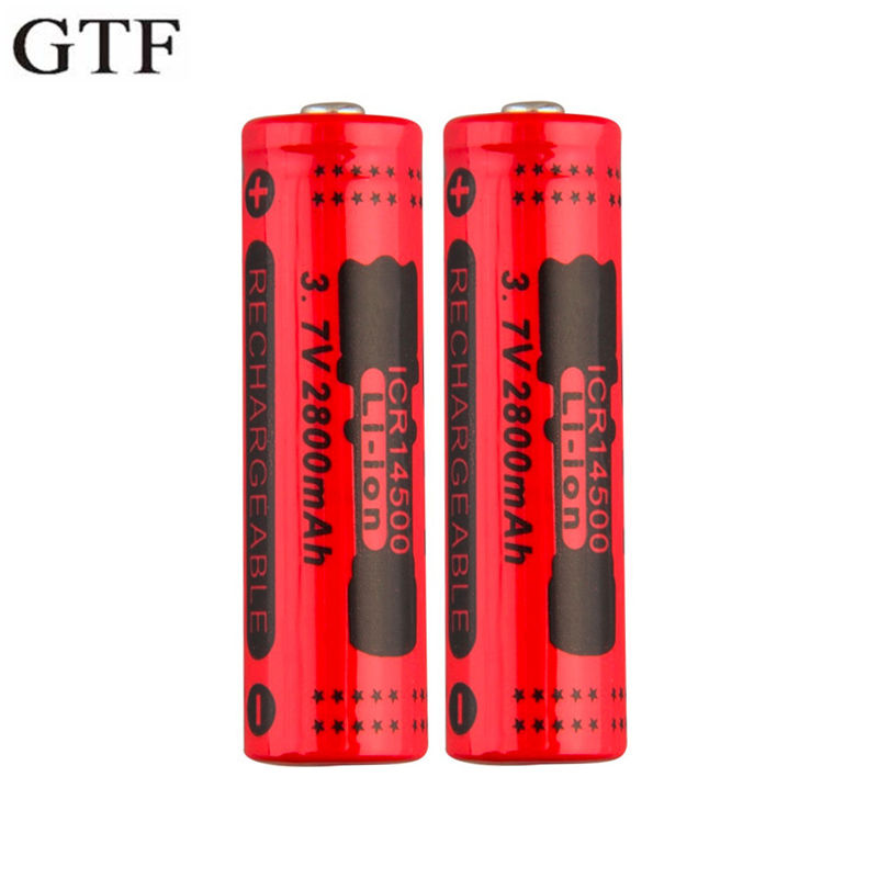 GTF 14500 3.7V 2800mAh Li-ion Rechargeable Battery For LED Flashlight Headlamp Lithium Ion Batteries With Charger Drop Shipping