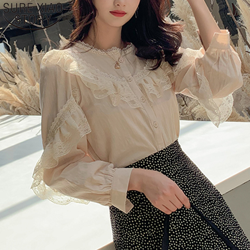 2020 Women's Tops And Blouses Elegant Ladies Tops Solid Lace Blouse Button Stand Tops For Women Shirts Blusas Femininas 8049 50