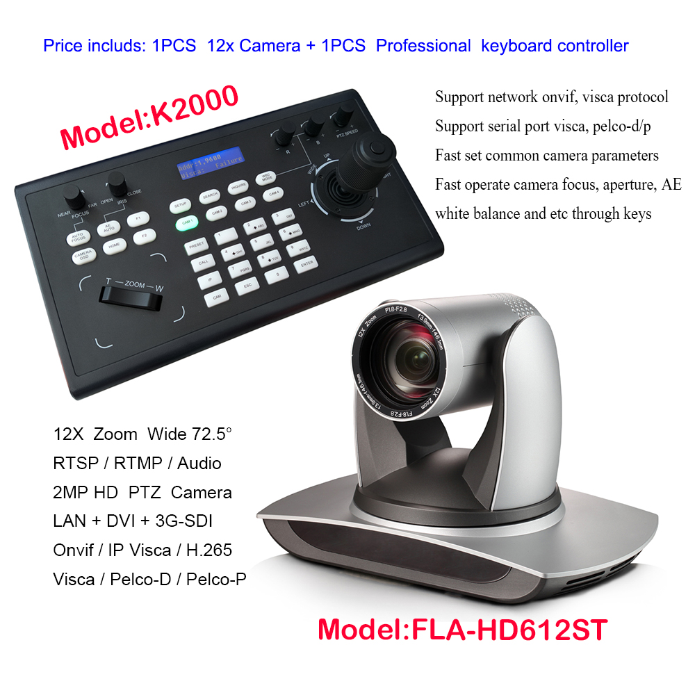 3G-SDI broadcast Color Video Conference PAN TILT ZOOM VISCA Camera 12x Zoom Live Streaming Web IP + Remote Controller Keyboard image