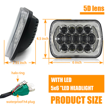 2PCS 85W 7x6'' 5X7 LED Headlight Halo DRL For 86-95 Jeep Wrangler YJ 84-01 Cherokee XJ Angel Eyes DRL H4 LED Square Headlights
