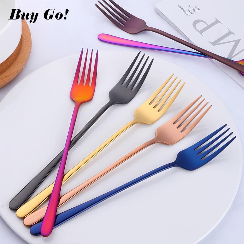 1 PCS Stainless Steel Korean Rainbow Cake Fruit Fork Dinner Salad Fork Tableware Gold Dessert Fork For Hotel Party Kitchen Tool
