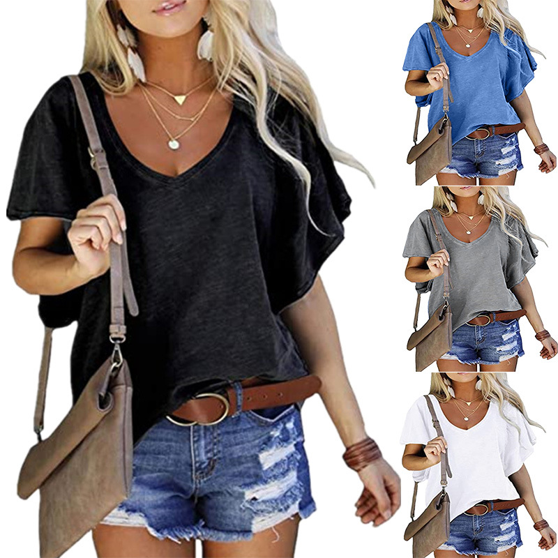 2021 New Summer Women's Tops V-Neck Cotton T Shirts Solidcolor Short Sleeve Tees Casual Loose Pius Size Femmel T-Shirt