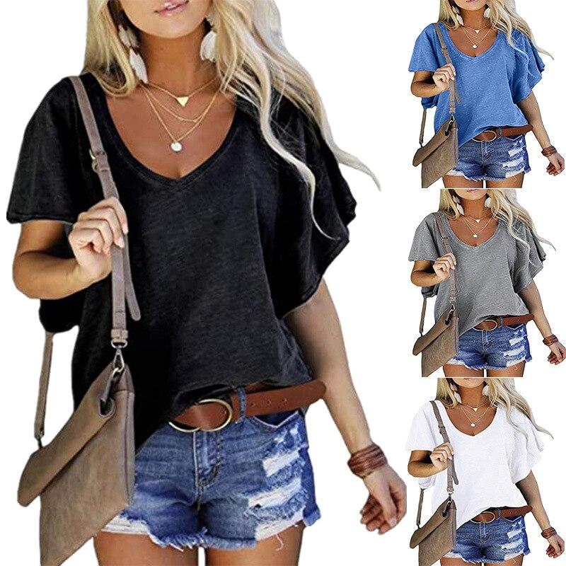 2021 yeni yaz kadın üstleri v yaka pamuk T shirt Solidcolor kısa kollu Tees rahat gevşek artı boyutu Femmel T-Shirt