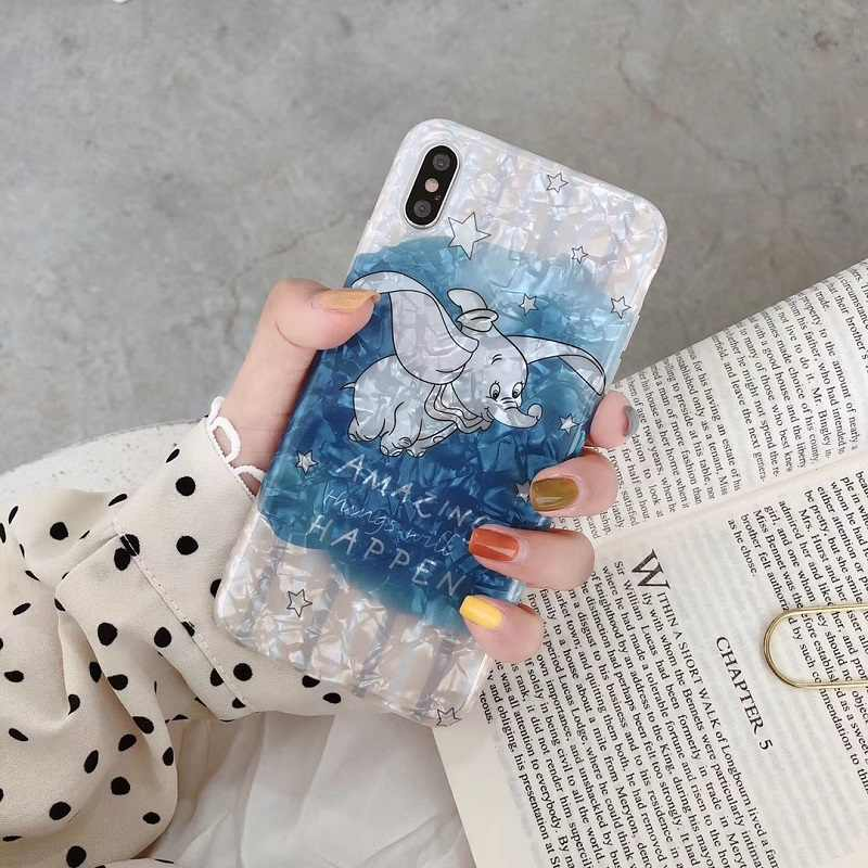Cartoon Flying Elephant Conch Shell for iphone xs max xr 7 8 plus cute dumbo case for iphone XS MAX XR X 7 8