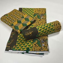 New African Print Wax Fabric Ankara 100% Cotton Material Pagne High Quality For Sewing Party Dress 6Yards NN1205-2