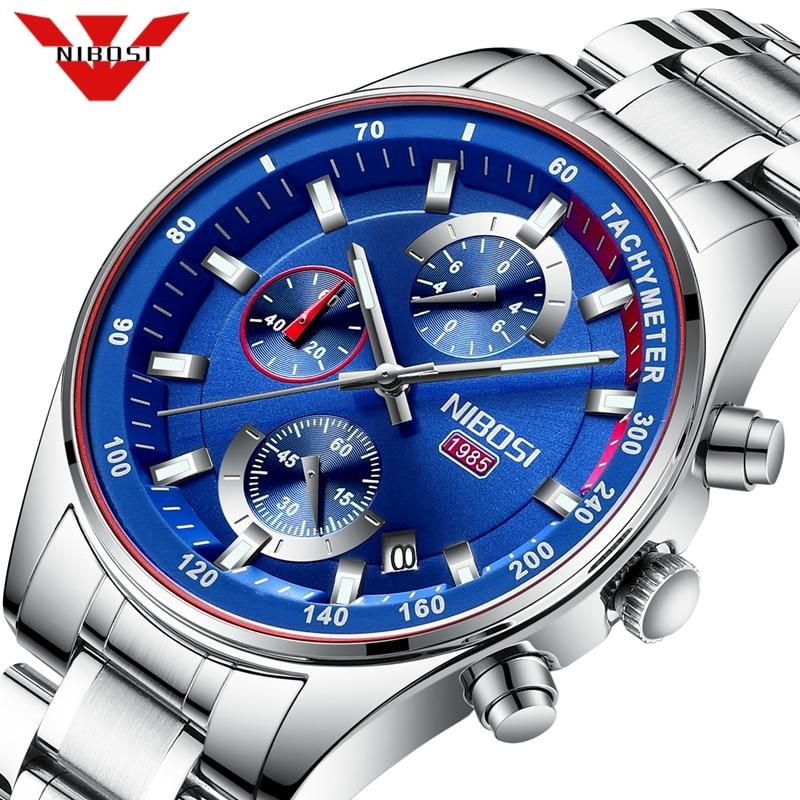 NIBOSI Relogio Masculino Sport Chronograph Mens Watches Top Brand Luxury Blue Steel Quartz Clock Waterproof Big Dial Watch Men