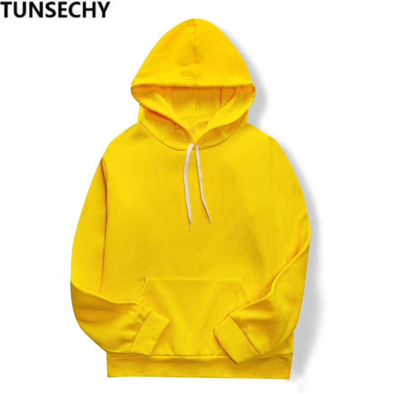 2020 Women's Yellow Casual Long-sleeved Comfortable Hoodie Plain Color Street Wear Skateboard Hoodies In Spring And Fall