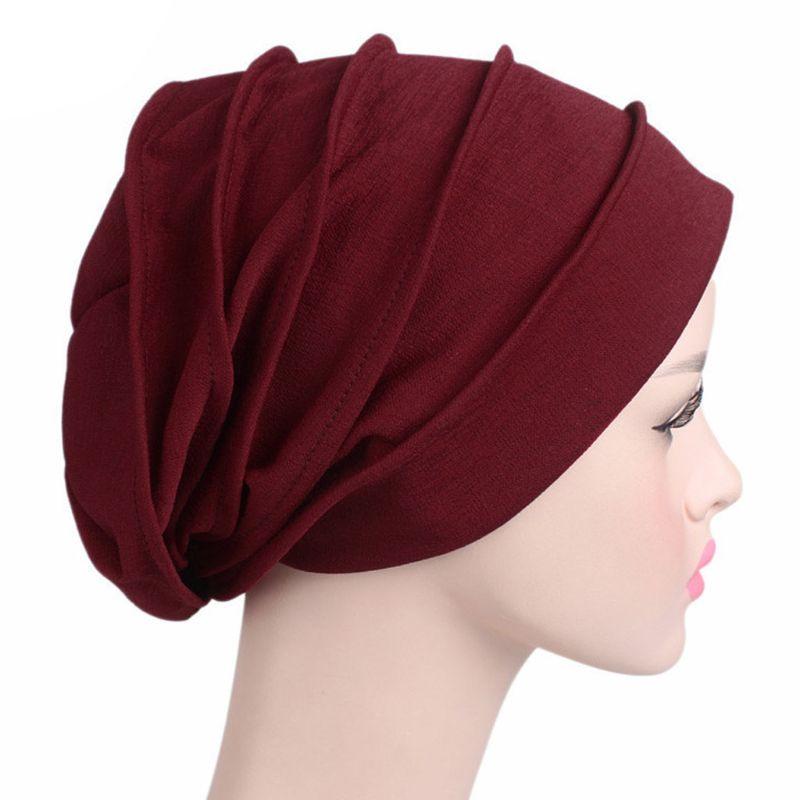 Image 4 - Fashion New Women Cotton Sleep Cap Cancer Beanie Muslim Turban  Hair Loss Chemo Hat Pleated for Lady Female 6 ColorsWomens Skullies